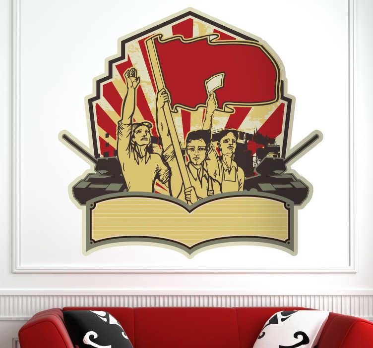 TenStickers. Naklejka dekoracyjna symbol rewolucji. Naklejka dekoracyjna, która przedstawia sowiecki symbol rewolucji, w którym klasa robotnicza dołącza do wojsk sowieckich.