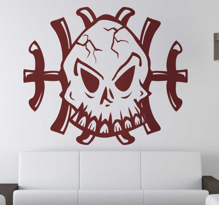 TenStickers. Naklejka dekoracyjna logo czaszki. Naklejka dekoracyjna, która przedstawia posępną czaszkę na tle dwóch skrzyżowanych piszczeli. Idealna ozdoba na czas Halloween.