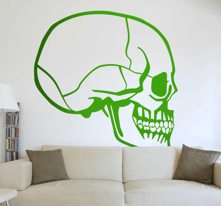 TenStickers. Naklejka dekoracyjna czaszka profil. Naklejka dekoracyjna, która przedstawia profil czaszki. Dla wszystkich fanów ludzkiej anatomii i miłośników horroru. Obrazek jest dostępny w wielu kolorach i wymiarach.