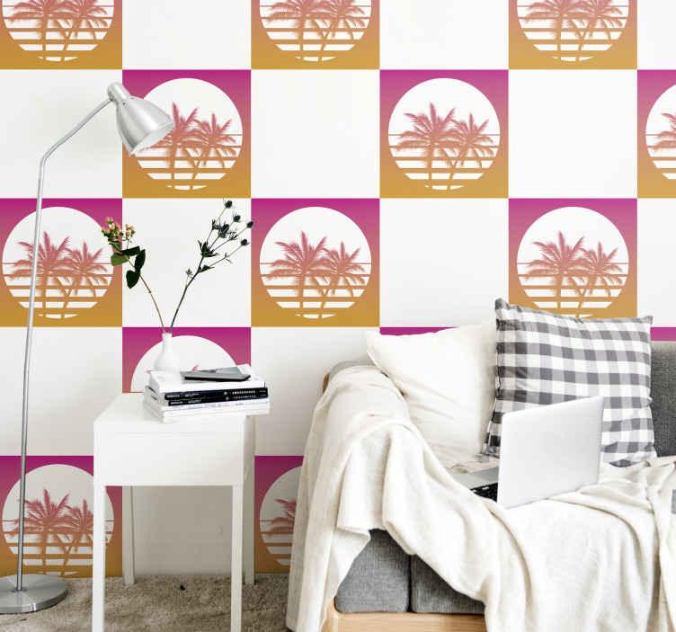 TENSTICKERS. サンセットヴィンテージランドスケイプタイル転送. このオリジナルのヴィンテージテクスチャサンセットスタイルステッカーで、あなたの家にさわやかな存在感を与えましょう。塗布が簡単で粘着性があります。