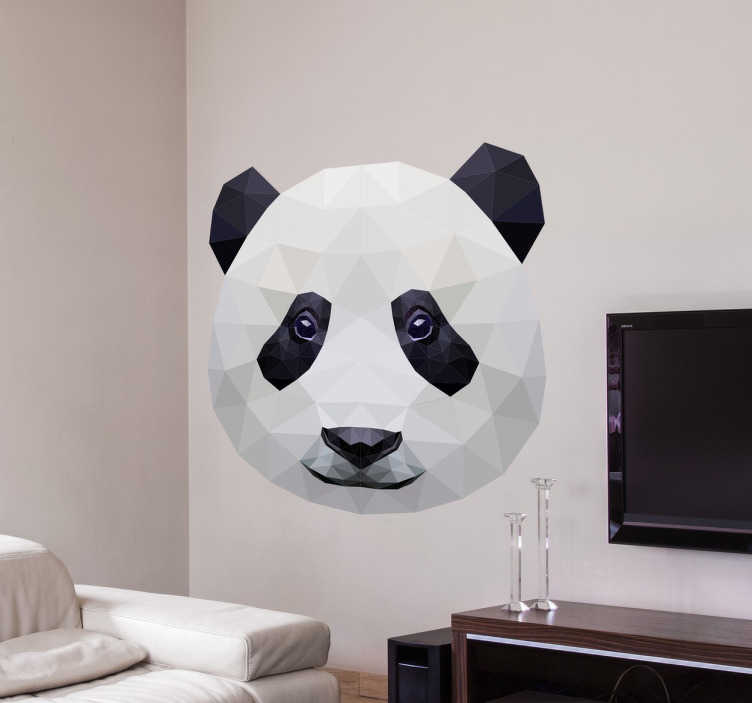 TenStickers. Panda Foto Aufkleber. Dieser niedliche Panda isst gerade Bambus. Verzieren Sie Ihr Zuhause mit diesem tierischen Foto Wandtattoo.