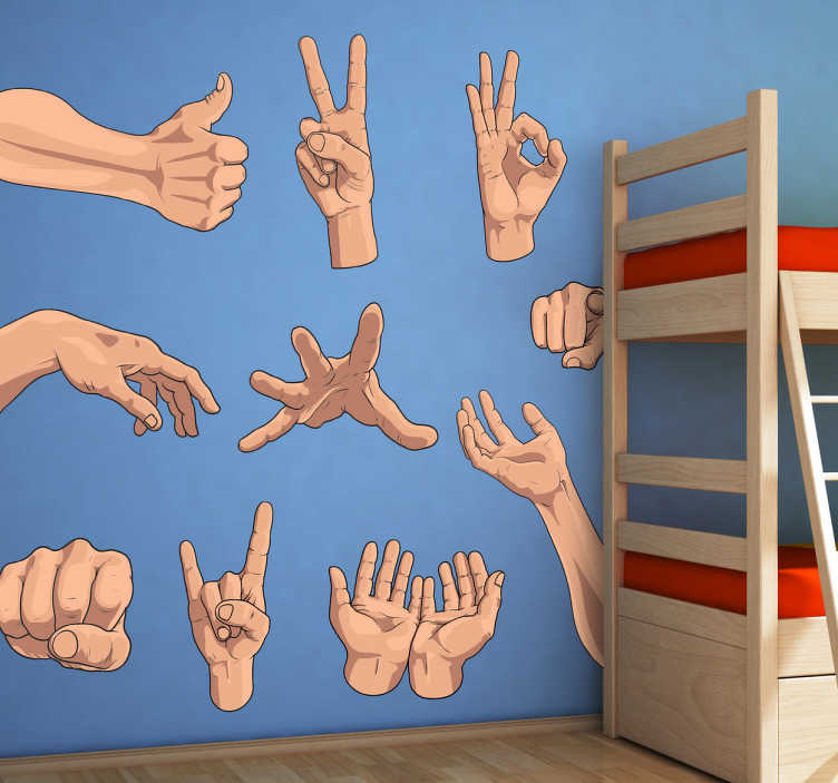 TenStickers. Hand Gestures Sticker. Curious collection of stickers with hands showing different gestures. An original way to decorate the walls of your home.