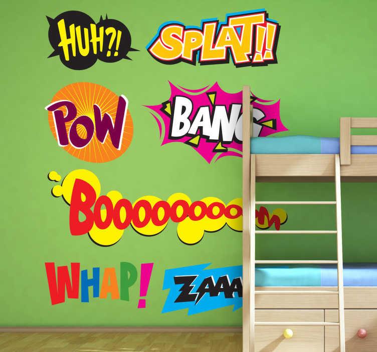 TenStickers. Naklejka dzwięki. Kolekcja naklejek zawierająca komiksowe dymki jak Boom, Bang….. oraz inne.