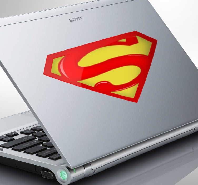 TenStickers. Superman Logo Laptop Sticker. Laptop Stickers - Man of steel Superman theme sticker. Great for customising your laptop. *Sticker sizes may vary slightly depending on the device.