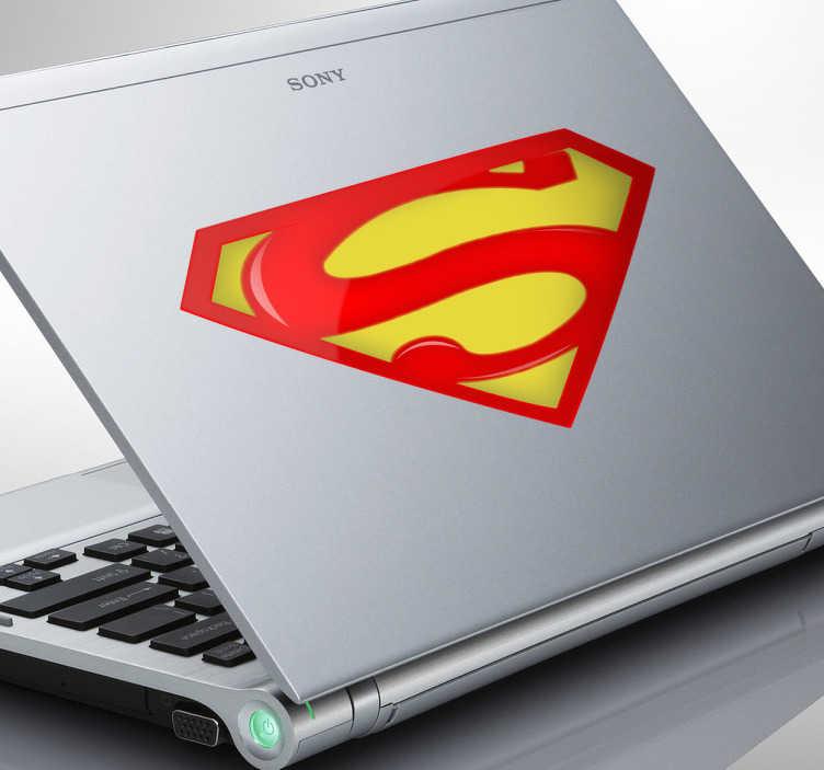 TenVinilo. Adhesivo logo Superman portátil. Adhesivo del emblema del más grande de los superhéroes, el hombre de acero, alter ego de Clark Kent.