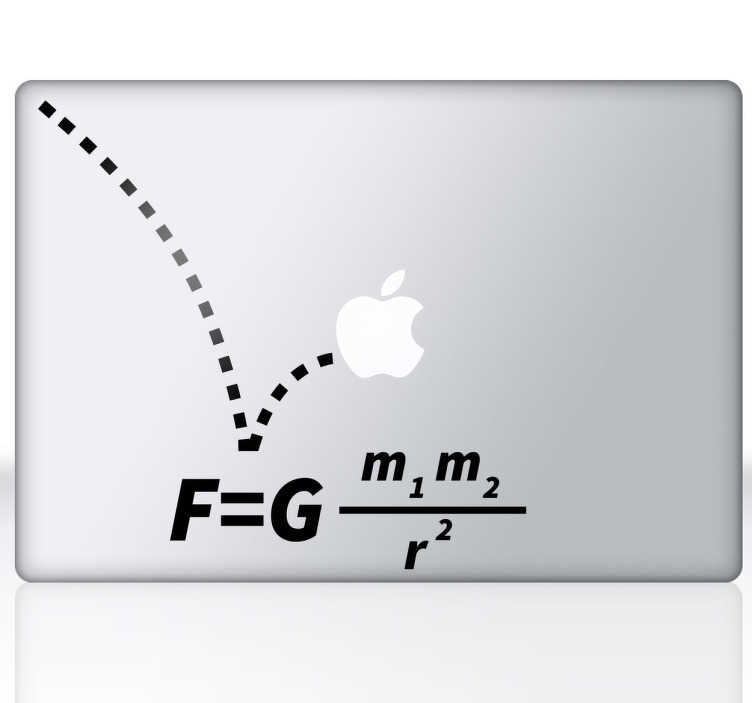 TENSTICKERS. 重力方程式macbookステッカー. あなたのmacbookを飾り、独創性のあるタッチを創造する創造的かつオリジナルのデカール。私たちのmacbookステッカーコレクションからのデザイン。 isaac newtonの有名な重力式からインスピレーションを得たクールなステッカーでデバイスをパーソナライズすることができます。