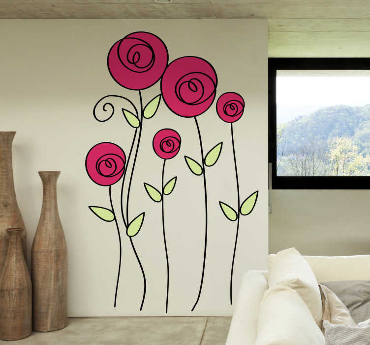 TENSTICKERS. バラのイラスト壁のステッカー. 花壁ステッカー - あなたの家のインテリアに新鮮でオリジナルの雰囲気を与えるために5つのカラフルなバラのイラスト。生き生きとしたバラの壁のステッカーは、居間、寝室などに色や自然をもたらします!