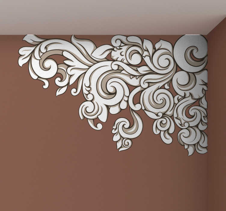 growing baroque floral corner wall sticker - tenstickers