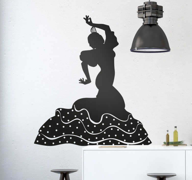 Tenstickers. Flamenco tanz silhouette dans vägg klistermärke. Ge ditt hem din individuella typ av energi och variation genom att använda denna fantastiska flamenco dans silhuett väggdekoration.
