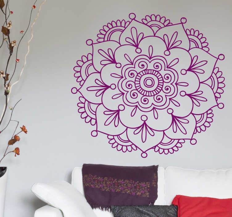 TenStickers. Indian Lotus Flower Sticker. A floral sticker of Indian inspiration. A spiritual representation that will take you to exotic places. Brilliant flower decal for your home!