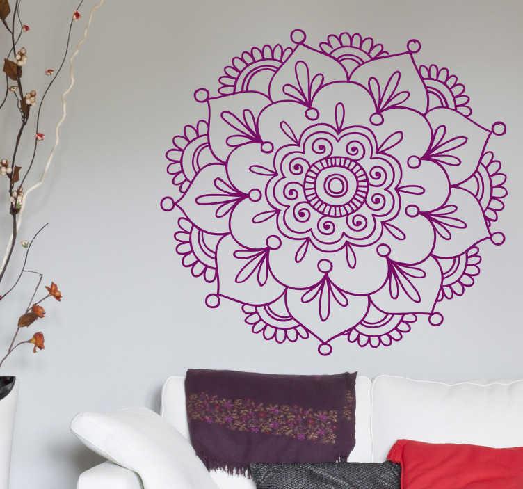 TenStickers. Indian lotus flower sticker. Un autocolant floral de inspirație indiană. O reprezentare spirituală care vă va duce în locuri exotice. Decals de flori strălucitoare pentru casa ta!