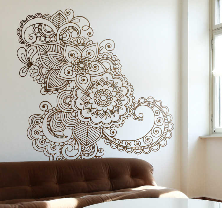 TenStickers. Asijské květinové vzorkovnice. Nádherná samolepka na květinové stěny inspirovaná asijskými vzory a mandaly z naší sbírky orientálních nástěnných samolepek. Tato krásná samolepka na květiny je k dispozici v jakékoli velikosti a přes 50 různých barev, takže můžete zdobit svou ložnici nebo obývací pokoj tak, jak chcete.