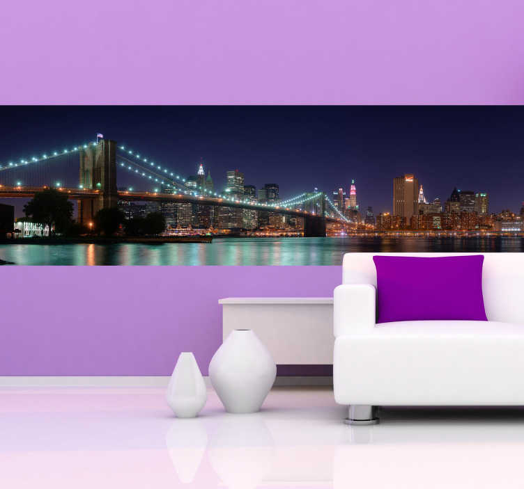 TenStickers. Brooklyn at Night Sticker. Wall decal of Brooklyn at night. Brilliant sticker to decorate your living room.