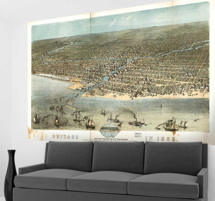 TenStickers. Naklejka dekoracyjna Chicago 1868. Naklejka dekoracyjna, która przedstawia panoramę miasta Chicago w stanie Illinois z XIX wieku.