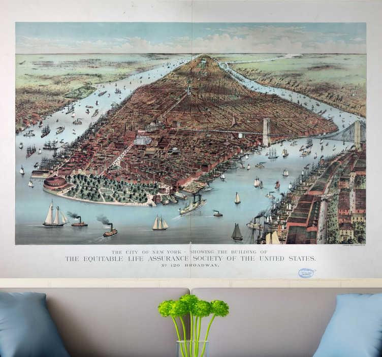TenStickers. Muursticker poster New York. Deze muursticker omtrent een ouderwets ontwerp geïllustreerd vanuit de lucht van het eiland Manhattan. Prachtige wanddecoratie.