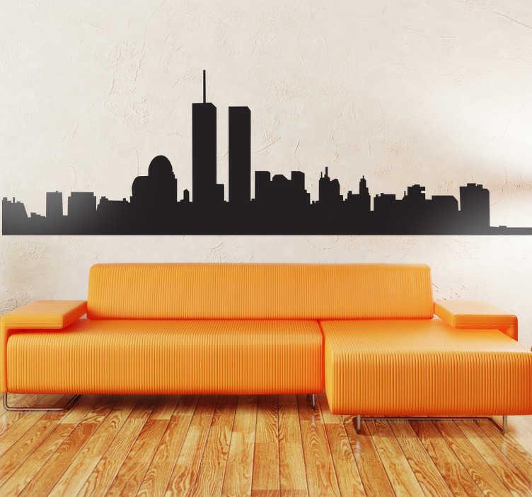TenStickers. Sticker decorativo silhouette Manhattan. Adesivo murale che raffigura la skyline della città di New York, com'era prima dell'attentato dell'11 Settembre 2001.