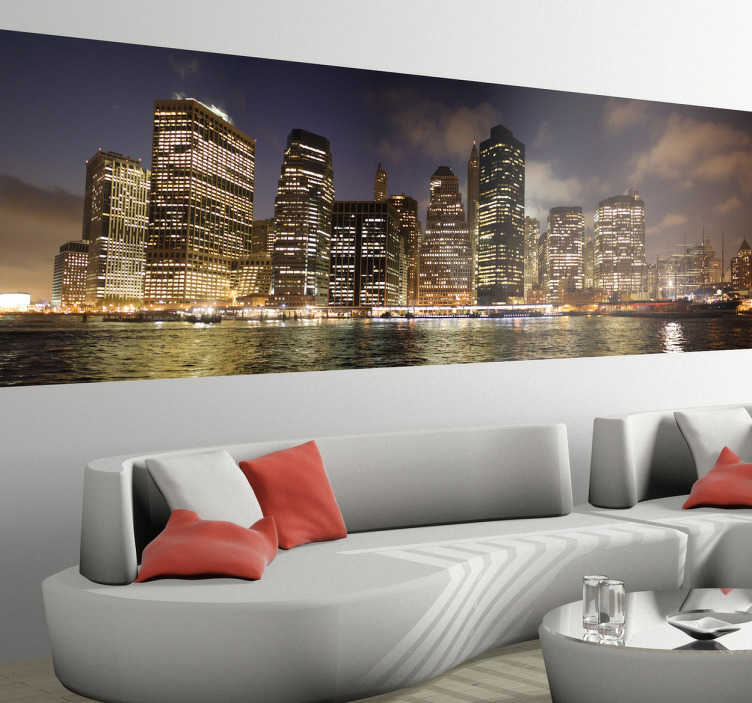 TenStickers. New York Photo Mural. A photo mural decal of the splendid city of New York at night. Brilliant wall sticker for those that love this amazing city.