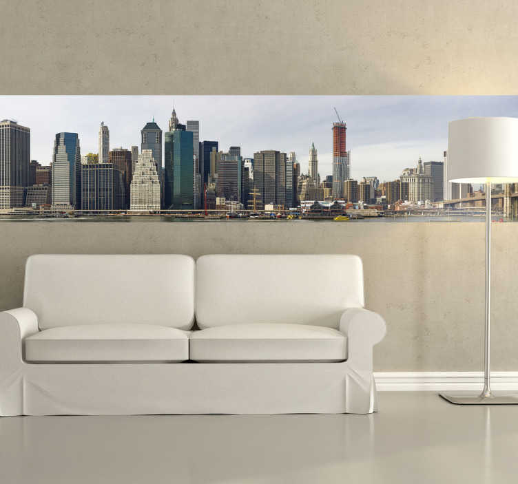 TenStickers. Manhattan´s Skyline Sticker. Sticker of the amazing skyline of Manhattan. Perfect decal to decorate your home if you are a person that loves travelling.