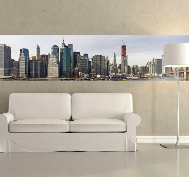 TenStickers. Adesivo murale vista Manhattan. Fotomurale raffigurante una veduta sulla città di New York. Per chi ama viaggiare e per coloro che vorrebbero visitare la Grande Mela.