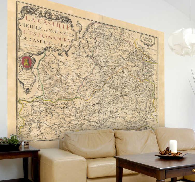 TenVinilo. Vinilo mapa de Castilla 1706. Fotografía adhesiva a alta resolución de un plano francés de Castilla la Mancha del siglo XVIII.