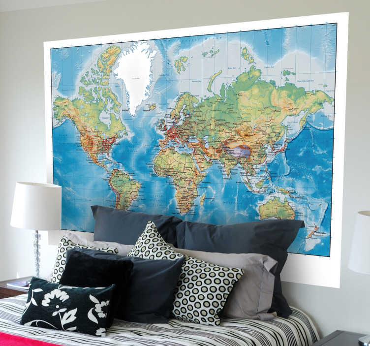 TenStickers. Mural de parede mapa mundo. Mural de parede ilustrando um mapa mundo com as dimensões físicas e políticas, capaz de criar uma atmosfera clássica e culta no seu quarto.