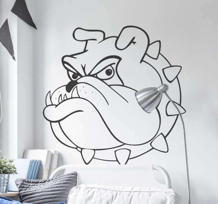 TenStickers. Bull Dog Wall Sticker. Wall Stickers - Illustration of a grumpy bull dog. Ideal for adding some character to any area. Available in various colours and sizes.