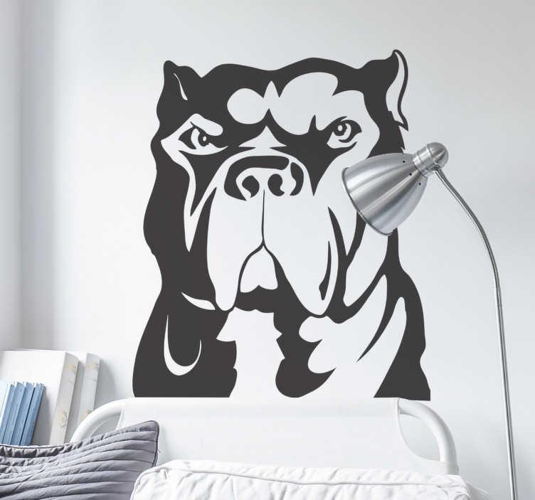 TenStickers. Muursticker pitbull. Deze muursticker is een ontwerp van het edele ras de pitbull. Dit ontwerp illustreert een boze pitbull en is ideaal voor fans van deze honden.