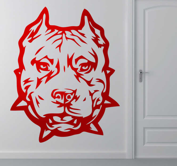 TenStickers. Pitbull Face Wall Sticker. Wall Stickers - Illustration of an agressive pitbull dog. Ideal for dog lovers. Available in various colours and sizes.
