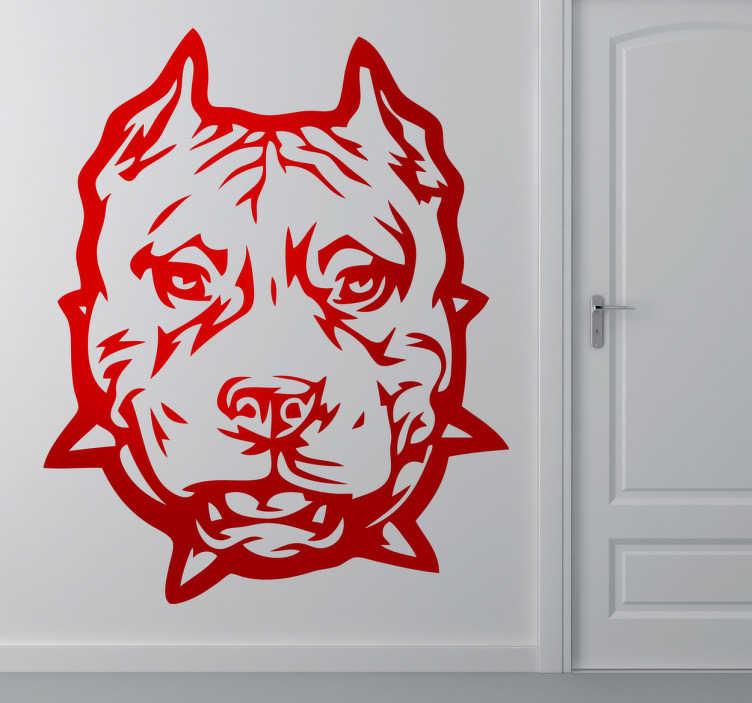 TenStickers. Muursticker boze pitbull. Deze muursticker omtrent een grimmig ontwerp van een pitbull, ideaal voor fans van dit bijzondere ras.