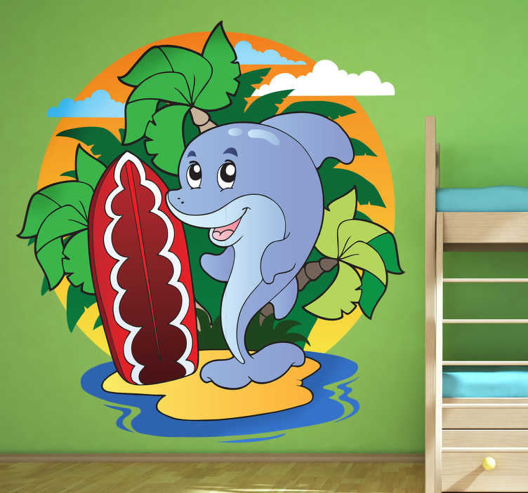 TenStickers. Beach Dolphin Surfer Kids Sticker. Kids Wall Stickers - A fun and playful design of a cheerful dolphin on a beach. Bright and colourful wall sticker great for decorating kids bedrooms.