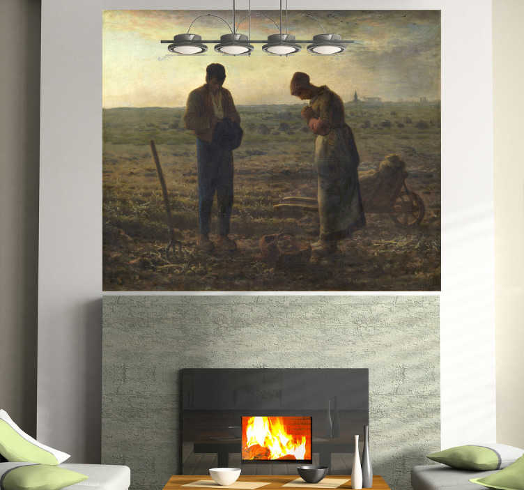 TenStickers. The Angelus Wall Mural. Painting - Illustration by French painter Jean-François Millet completed in 1859 depicts two peasants bowing in a field.