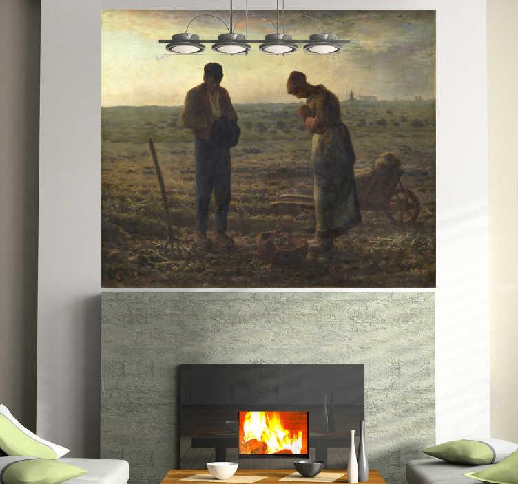 TenStickers. Sticker schilderij Angelus de Millet. Muursticker met hierop het schilderij van Angelus de Millet afgebeeld uit de XIXe eeuw. Selecteer zelf de afmetingen voor deze wanddecoratie.