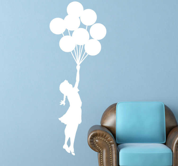 TenStickers. Adesivo Banksy menina com balões. Esteadesivo de paredede estiloBanksyé a escolha perfeita para dar ao seu quarto um novo design com o toque rebelde dapintura urbana.