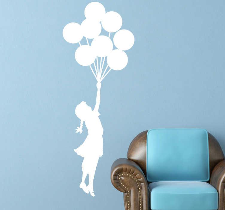 TenStickers. Dekorativt klistermærke Banksy pige med balloner. Dekorativt klistermærke Banksy pige med balloner - Eventyrlig wallsticker af pige med balloner.