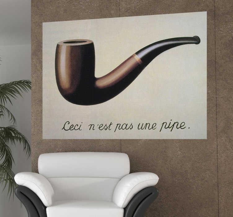 """TenStickers. Sticker peinture pipe Magritte. Reproduction en stickers autocollant de l'oeuvre du célèbre peintre surréaliste belge Magritte """"Ceci n'est pas une pipe"""". Une oeuvre d'art pour embellir votre intérieur."""