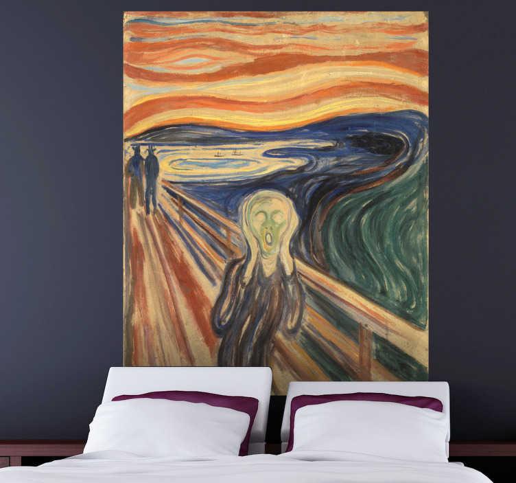 """TenStickers. Autocollant mural Le Cri. Stickers mural illustrant l'oeuvre d'art """"Le Cri"""" de l'artiste norvégien Edvard Munch.Sélectionnez les dimensions de votre choix.Idée déco originale et simple pour votre intérieur."""