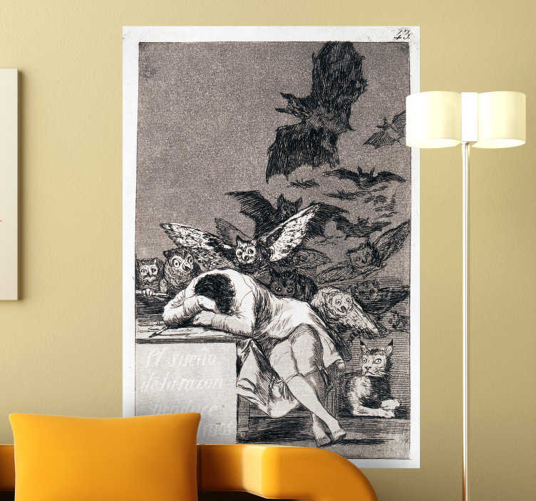 TenStickers. Goya Wall Mural. Painting - The Sleep of Reason Produces Monsters by Goya, a famous and tragic illustration.