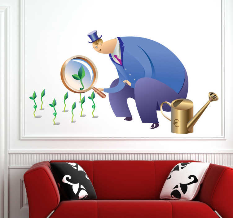 TenStickers. Sticker illustration banquier. Illustration amusante sur stickers représentant un économiste européen contemplant la transformation des graines qu'il a plantées en petites plantes vertes après les avoir arrosées avec un mélange spécial à base d'Euros.