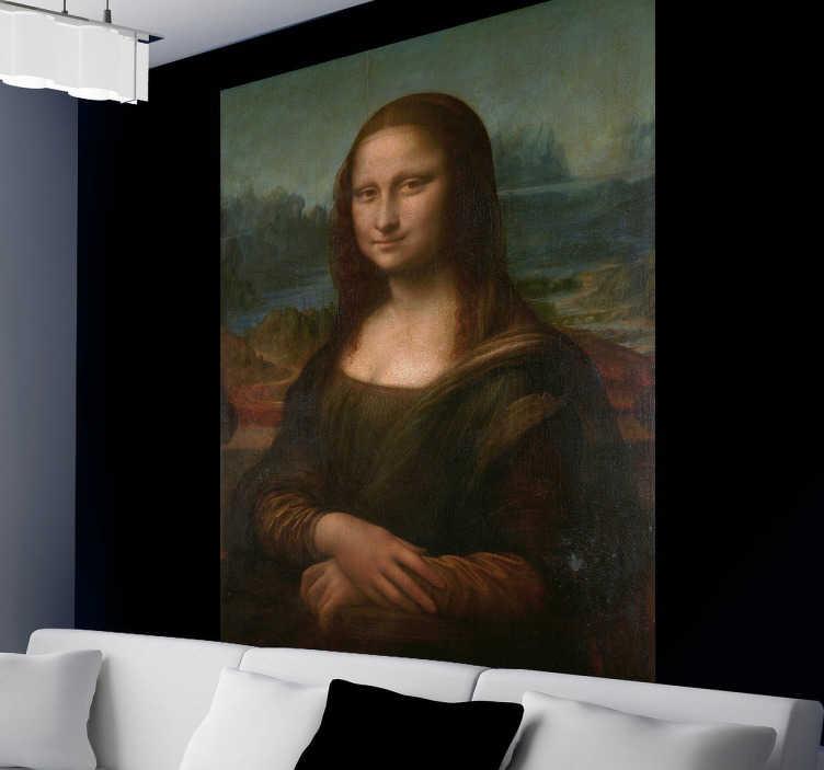 TenStickers. Sticker Mona lisa. Sticker original représentant une des plus grandes oeuvre d'art de notre histoire : la Joconde de Léonard de Vinci. Grâce à notre sticker vous pourrez avoir votre propre exemplaire de cette oeuvre mythique dans votre intérieur.