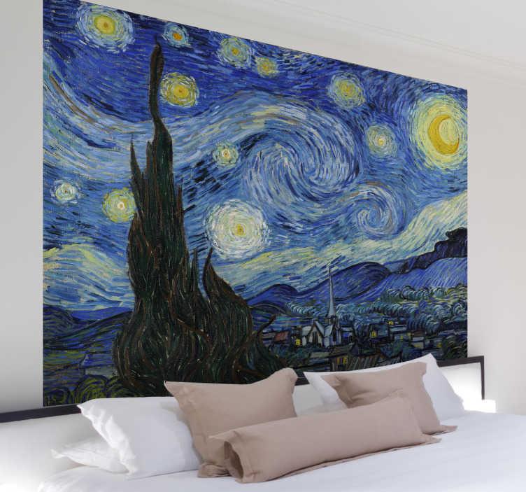 TenStickers. Mural de parede noite estrelada. Mural de parede ilustrando uma noite estrelada, inspirado numa das pinturas mais famosas do pintor impressionista, Van Gogh.