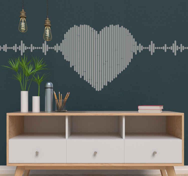 TenStickers. Muurstickers muzikaal hart melodie. Melodie muzikale beste signaal stickers. Een geweldig ontwerp om u liefde voor muziekbeats te illustreren, de kleur is aanpasbaar en gemakkelijk toe te passen.