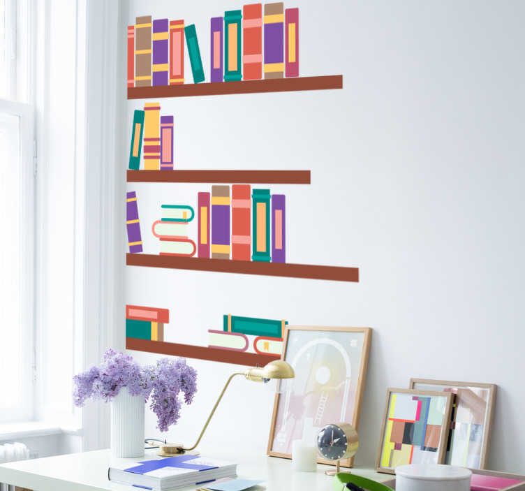 TenStickers. Naklejka dekoracyjna biblioteczka. Naklejka dekoracyjna przedstawiająca biblioteczkę z książkami, segregatorami i obiekami dziennego użytku.