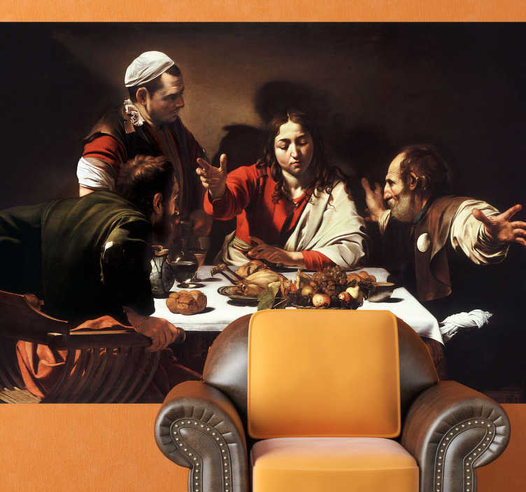 TenStickers. Naklejka dekoracyjna obraz Caravaggio. Naklejka dekoracyjna, która przedstawia obraz włoskiego malarza Michelangelo Merisi da Caravaggio pod tytułem Wieczerza w Emaus.