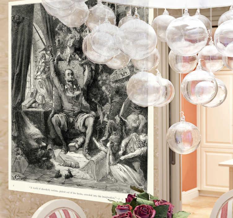 TenStickers. Sticker decorativo Don Chisciotte Doré. Adesivo murale che raffigura una delle illustrazioni del celebre Don Chisciotte della Mancia realizzata da Gustave Doré. Una decorazione originale per le pareti del soggiorno o della camera da letto.