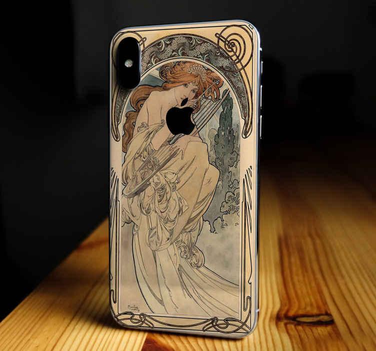 TenStickers. Garota com vinil autocolante decorativo harpa iphone. Um vinil autocolante decorativo de iphone projetado artístico original de uma menina com uma harpa. Um produtoincrível para envolver a superfície posterior de um iphone.