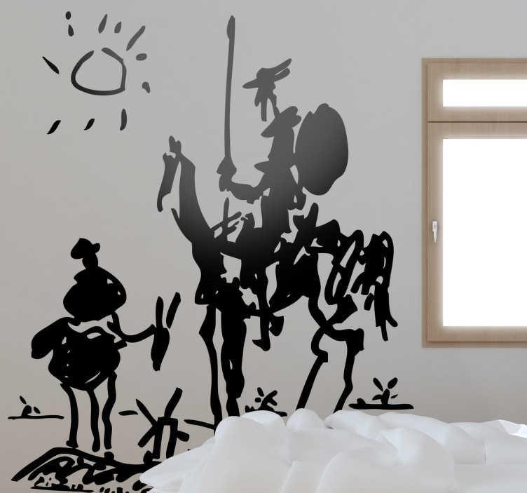 TenStickers. 唐吉诃德毕加索墙贴. 房间贴纸 - 唐吉诃德是由西班牙文学英雄毕加索和他的伙伴桑乔·潘扎的1955年素描。
