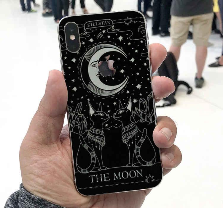 TenStickers. Gatos por um vinil autocolante decorativo do iphone da lua. Gatos na autocolante decorativa do iphone do espaço. Um produtopara amantes de gatos, é adorável e cobriria a superfície posterior do seu telefone de uma forma adorável.