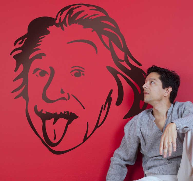 TenStickers. Sticker décoratif Einstein langue pendue. Stickers décoratif représentant le portrait d'Einstein avec sa langue pendue.Sélectionnez les dimensions de votre choix pour personnaliser le stickers à votre convenance.Jolie idée déco pour les murs de votre intérieur de façon simple et élégante.