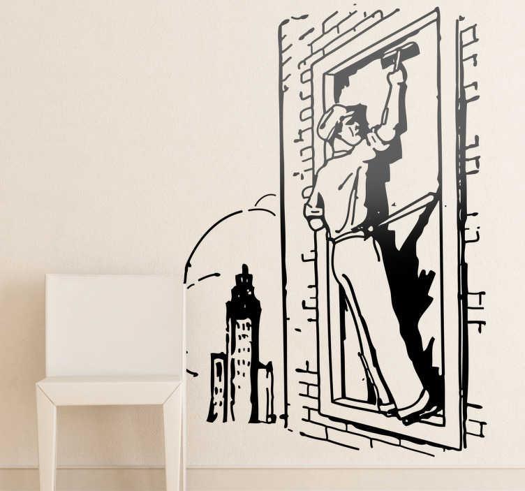 TenStickers. Naklejka dekoracyjna mycie okien. Naklejka dekoracyjna, która przedstawia mężczyznę myjącego okna w bloku. Obrazek jest dostępny w wielu kolorach i wymiarach.