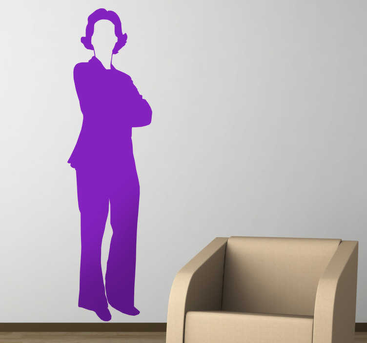 TenStickers. Business Woman Wall Sticker. Wall Stickers -  Silhouette illustration of a business woman in a suit with folded arms and short hair. Available in various sizes and in 50 colours.